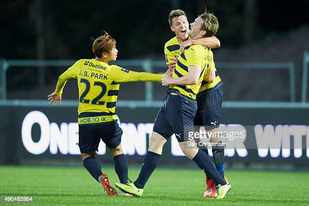 The players of Hobo IK celebrating the 10 goal from Pal Alexander Kirkevold during the Danish Alka Superliga match between Hobro IK and Esbjerg fB at...