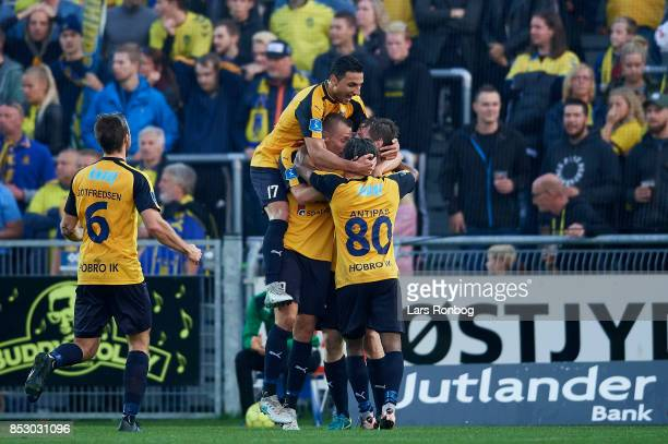 The players of Hobro Ik celebrate after the 10 goal scored by Pal Alexander Kirkevold of Hobro IK during the Danish Alka Superliga match between...