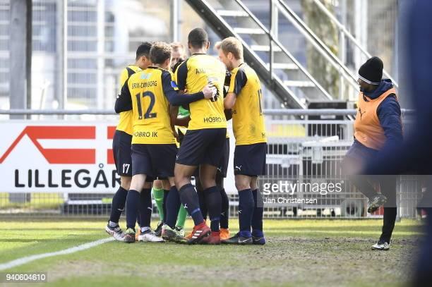 The players of Hobro IK celebrate after the 10 goal scored by Emmanuel Sabbi during the Danish Alka Superliga match between Hobro IK and AGF Aarhus...
