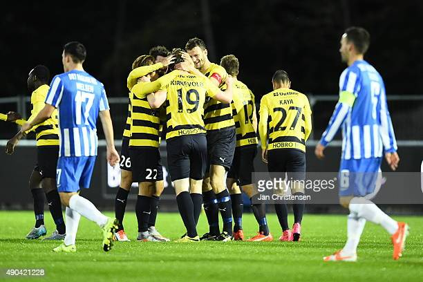 The players of Hobro Ik celebrating the 10 goal from Pal Alexander Kirkevold during the Danish Alka Superliga match between Hobro IK and Esbjerg fB...