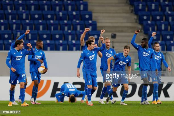 The players of Hoffenheim celebrate after Munas Dabbur of Hoffenheim scored his team's first goal during the UEFA Europa League Group L stage match...