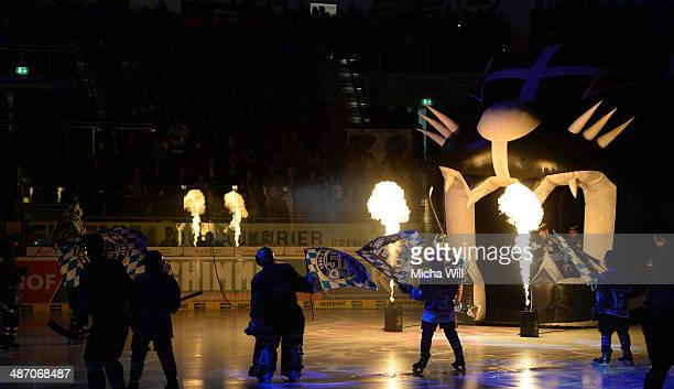 The players of Ingolstadt enter the surface in game six of the DEL final playoffs between ERC Ingolstadt and Koelner Haie at Saturn Arena on April 27...