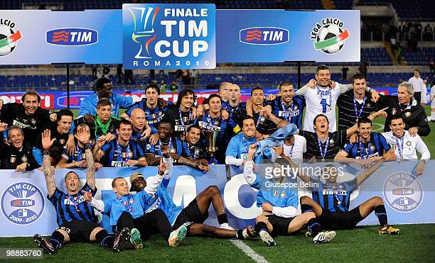 The players of Inter celebrate the victory after the match the Tim Cup between FC Internazionale Milano and AS Roma at Stadio Olimpico on May 5, 2010...