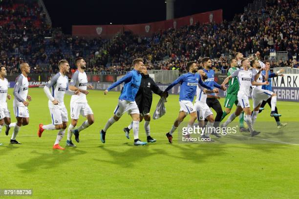 the players of Inter celebrates a victory at the end of during the Serie A match between Cagliari Calcio and FC Internazionale at Stadio Sant'Elia on...
