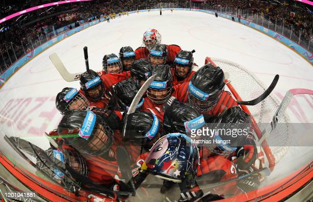 The players of Japan celebrate winning the Women's 6Team Tournament Finals Gold Medal Game during day 12 of the Lausanne 2020 Winter Youth Olympics...