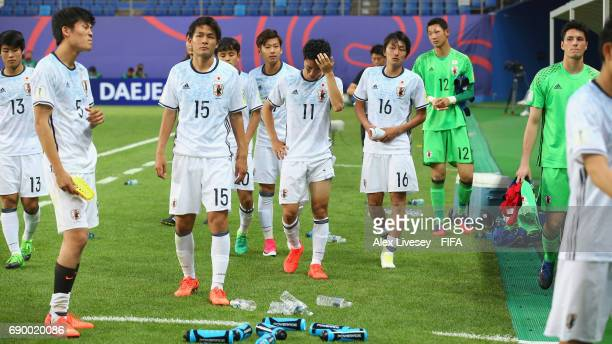 The players of Japan look dejected after the FIFA U20 World Cup Korea Republic 2017 Round of 16 match between Venezuela and Japan at Daejeon World...