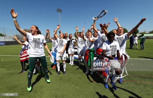 The players of Juventus Women celebrate after winning the Serie A championship at the end of the the Women Serie A match between Hellas Verona Women...