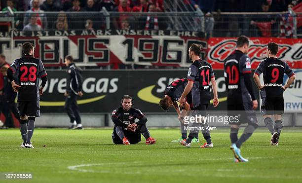 The players of Kaiserslautern show their frustration after loosing the Second Bundesliga match between FC Energie Cottbus and 1.FC Kaiserslautern at...