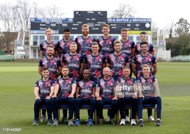 The players of Kent CCC pose for a team photograph in their Vitality Blast kit at The Spitfire Ground on March 18 2019 in Canterbury England