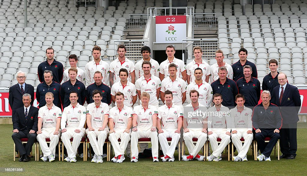 The players of Lancashire CCC line up for a team photograph during a pre-season photocall at Old Trafford on April 2, 2013 in Manchester, England.