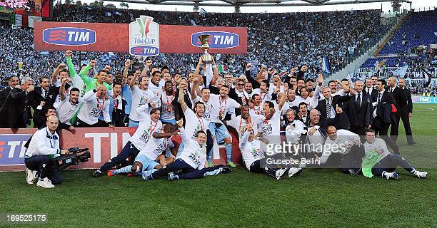 The players of Lazio celebrate the vicory after the TIM cup final match between AS Roma v SS Lazio at Stadio Olimpico on May 26 2013 in Rome Italy