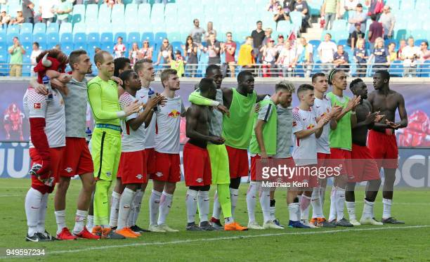 The players of Leipzig look on after loosing the Bundesliga match between RB Leipzig and TSG 1899 Hoffenheim at Red Bull Arena on April 21 2018 in...