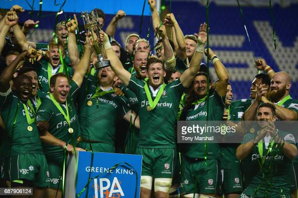 The players of London Irish celebrate winning the Greene King IPA Championship Final Second Leg match between London Irish and Yorkshire Carnegie at...