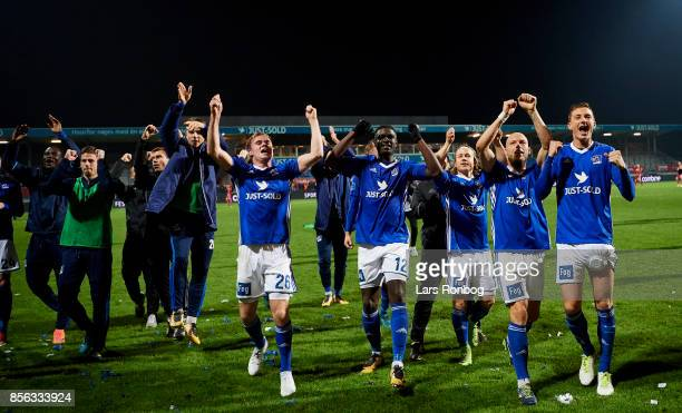 The players of Lyngby BK celebrate after the Danish Alka Superliga match between Lyngby BK and FC Copenhagen at Lyngby Stadion on October 1 2017 in...