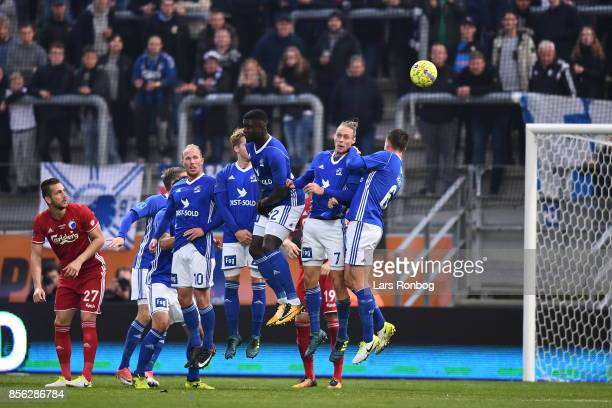 The players of Lyngby BK in a defence wall during the Danish Alka Superliga match between Lyngby BK and FC Copenhagen at Lyngby Stadion on October 1...