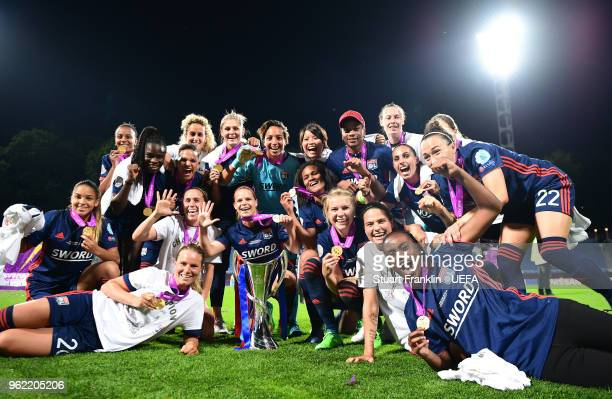 The players of Lyon celebrate after the UEFA Women's Champions League final match between VfL Wolfsburg and Olympique Lyonnais on May 24 2018 in Kiev...