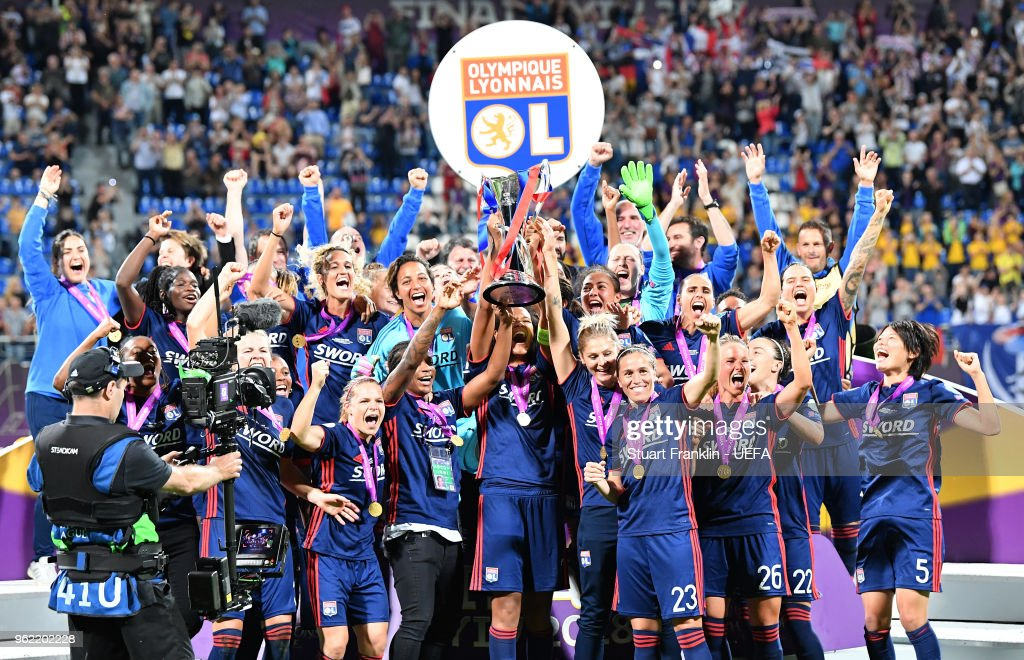 The players of Lyon lift the winners trophy after the UEFA Women's Champions League final match between VfL Wolfsburg and Olympique Lyonnais on May 24, 2018 in Kiev, Ukraine.