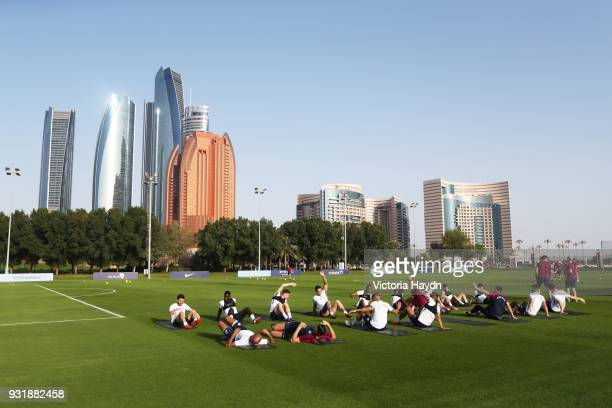 The players of Manchester City during the Abu Dhabi Warm Weather Training Camp on March 13 2018 in Abu Dhabi United Arab Emirates
