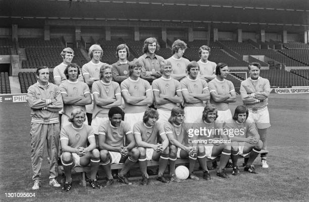 The players of Manchester City FC, a League Division 1 team at the start of the 1973-74 football season, UK, 30th August 1973. From left to right...