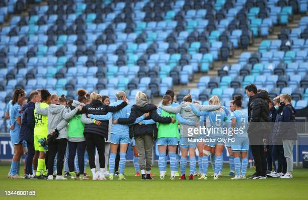 The players of Manchester City Women huddle after the Barclays FA Women's Super League match between Manchester City Women and West Ham United Women...