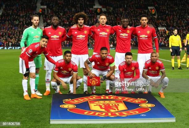 The players of Manchester United line up prior to the UEFA Champions League Round of 16 Second Leg match between Manchester United and Sevilla FC at...
