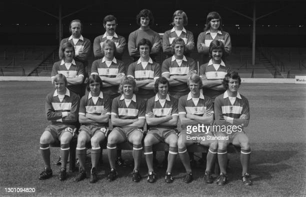 The players of Middlesbrough FC, a League Division 2 team at the start of the 1973-74 football season, UK, 30th July 1973. From left to right Nobby...