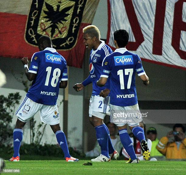 The players of Millonarios celebrate a goal scored during the match Independiente Santa Fe Millonarios for the ninth date of the League Postobon at...