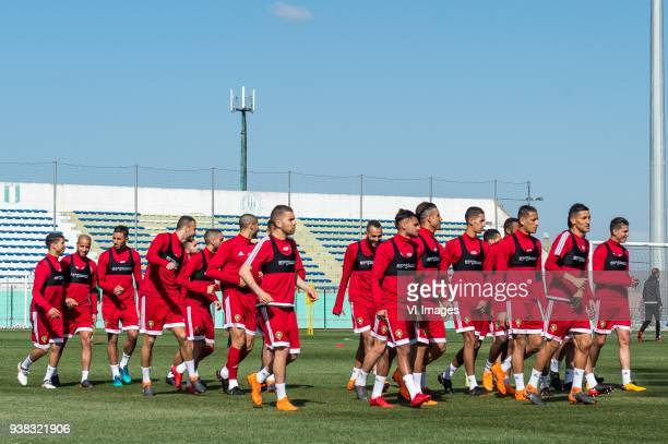 the players of Morocco during the warming up during a training session prior to the International friendly match between Morocco and Oezbekistan in...