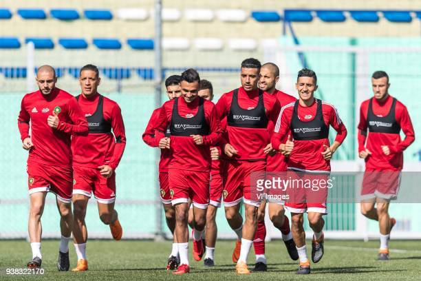 the players of Morocco during the warming up with Nordin Amrabat of Morocco during a training session prior to the International friendly match...