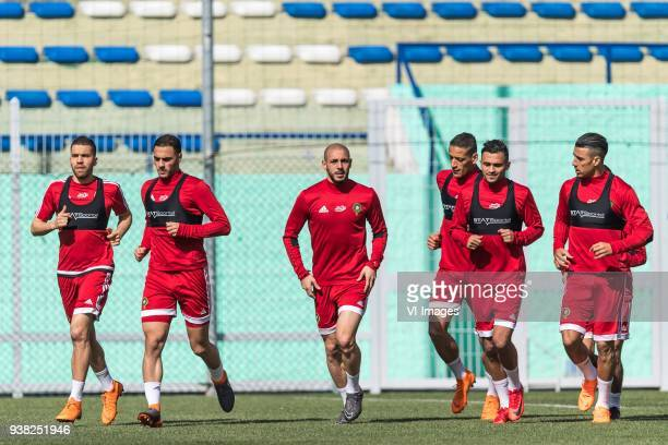 the players of Morocco during the warming up with Sofyan Amrabat of Morocco Nordin Amrabat of Morocco during a training session prior to the...