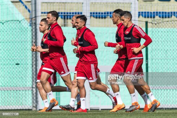 the players of Morocco during the warming up with Sofyan Amrabat of Morocco in front during a training session prior to the International friendly...