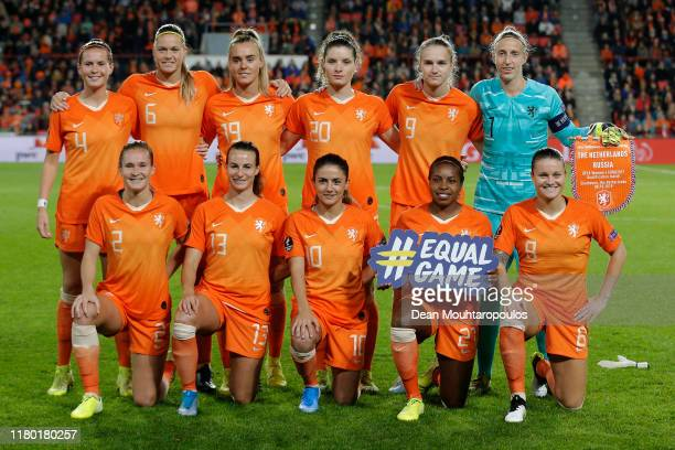 The players of Netherlands line up during the UEFA Women's Euros 2021 Group A qualifying match between Netherlands and Russia at PSV Stadion on...