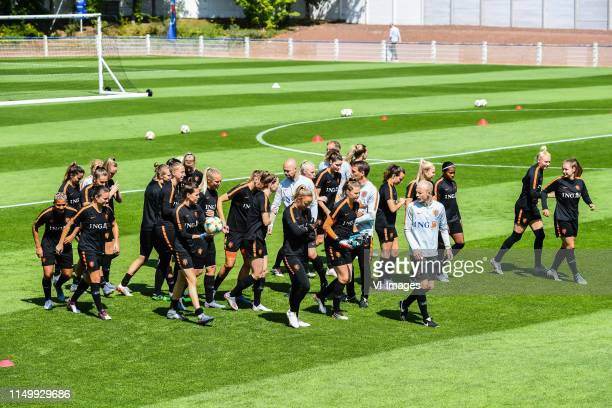 the players of Netherlands women at the warming up during a training session prior to the FIFA Women's World Cup France 2019 group E match between...