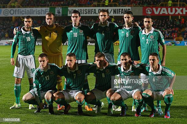 The players of Northern Ireland line up prior to the FIFA 2014 World Cup Group F Qualifying match between Northern Ireland and Azerbaijan at Windsor...