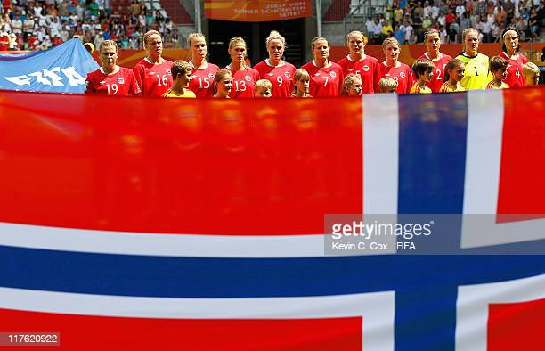 The players of Norway stand during their National Anthem prior to the FIFA Women's World Cup 2011 Group D match between Norway and Equatorial Guinea...