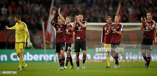 The players of Nuernberg bid goodbye to their fans after the second Bundesliga match between 1 FC Nuernberg and TSV 1860 Muenchen at GrundigStadion...