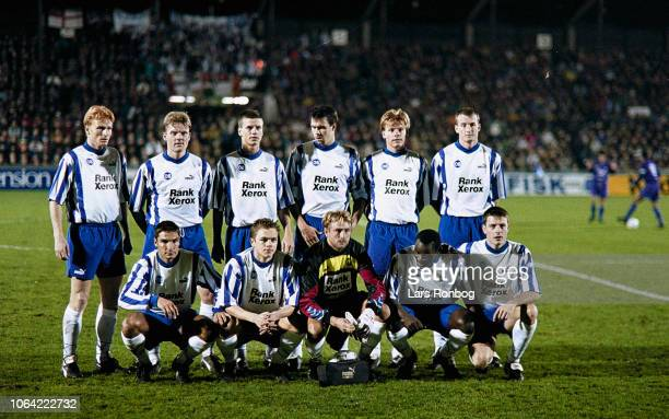 The players of OB Odense pose for a group picture prior to the UEFA Cup match between OB Odense and Real Madrid at Odense Stadion on November 22,...