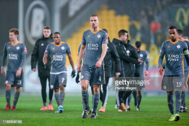 The players of OH Leuven after the Proximus League match between Sporting Lokeren and OH Leuven at the Daknam Stadion on January 24, 2020 in Lokeren,...