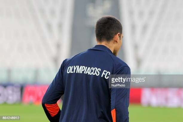 The players of Olympiakos FC during the training on the eve of the UEFA Champions League match between Juventus FC and Olympiakos FC at Allianz...