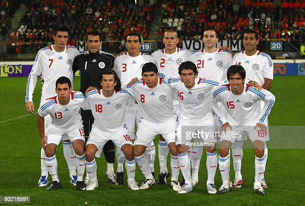 The players of Paraguay line up prior to the International Friendly match between Netherlands and Paraguay at the Abe Lenstra Stadium on November 18,...