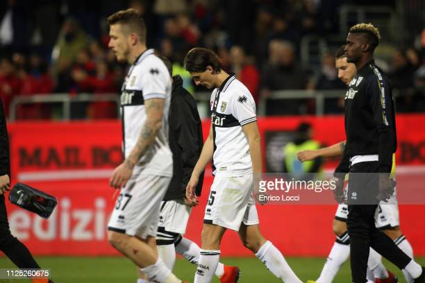 the players of Parma at the end of the Serie A match between Cagliari and Parma Calcio at Sardegna Arena on February 16 2019 in Cagliari Italy