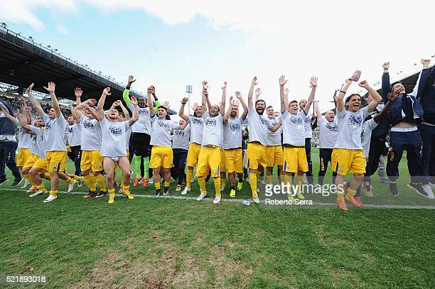 The players of Parma celebrate after the Serie D match between Parma Calcio 1913 and Delta Rovigo at Stadio Tardini on April 17 2016 in Parma Italy