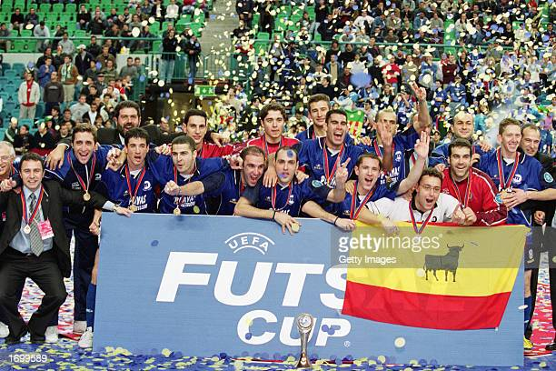 The Players of Playas de Castellon celebrate winning the Final of the UEFA Futsal Cup Tournament between Playas de Castellon and Charleroi held in...