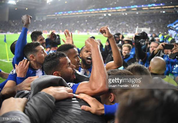 The players of Porto celebrate after the winning goal during the UEFA Champions League Round of 16 Second Leg match between FC Porto and AS Roma at...