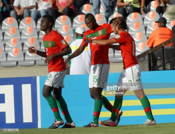 The players of Portugal celebrate a scored goal during a match for the semifinals between France and Portugal as part of the FIFA U20 World Cup 2011...