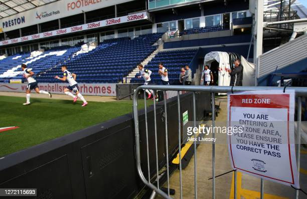 The players of Preston North End run out for the start of the Sky Bet Championship match between Preston North End and Swansea City at Deepdale on...