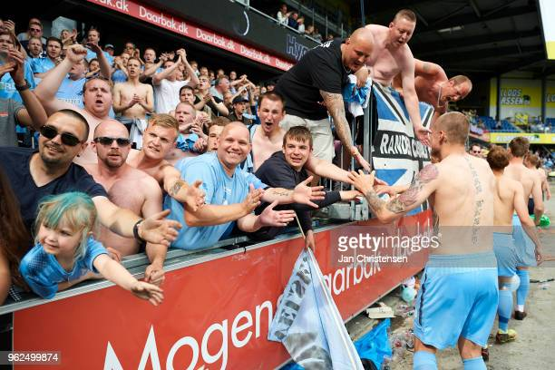The players of Randers FC and fans of Randers FC celebrate that Randers FC still playing in the best league next season after the Danish Alka...