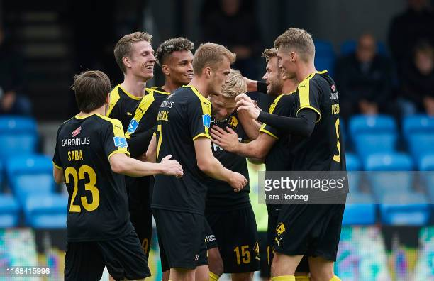 The players of Randers FC celebrate the 10 goal scored by Bjorn Kopplin during the Danish 3F Superliga match between Esbjerg fB and Randers FC at...
