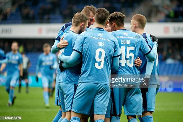 The players of Randers FC celebrate the 1-0 penalty goal from Saba Lobzhanidze during the Danish 3F Superliga match between Randers FC and Esbjerg fB...