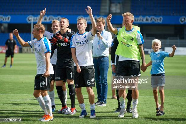 The players of Randers FC celebrating after the Danish Superliga match between Randers FC and OB Odense at BioNutria Park Randers on July 29 2018 in...